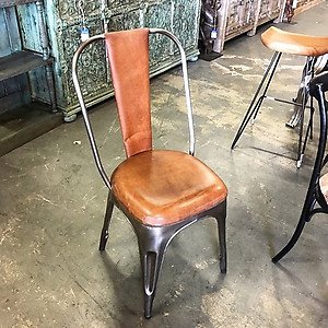 Retro Leather and Metal Chair