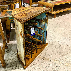 Boatwood Wine Storage Side Table