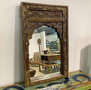 Sold Carved Arched Mirror