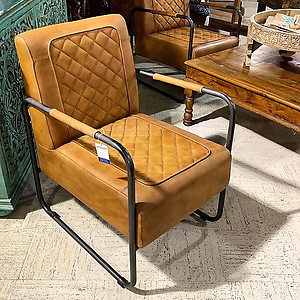 Sold Retro Leather and Metal Chair