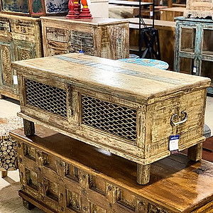 Reclaimed Wood and Metal Coffee Table Trunk