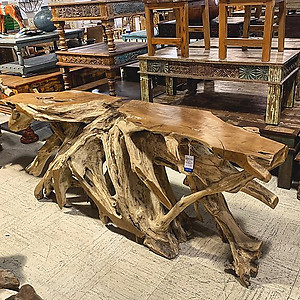 Sold Teak Root Console Table