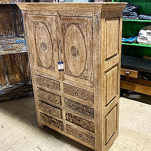 Sold! Hand carved storage cabinet with drawers