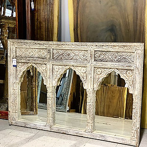 SOLD! Carved Wood Triple Arch Mirror