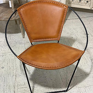 Sold Leather and Metal Papasan Chair