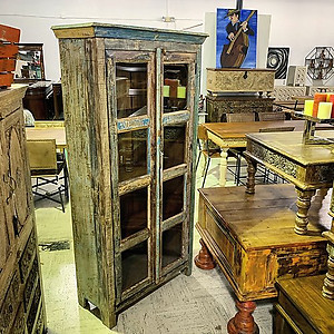 Sold! Reclaimed Wood And Glass Door Cabinet