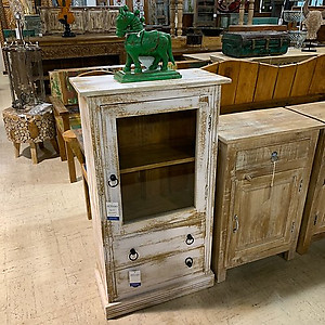 Sold! Distressed Wood and Glass Cabinet