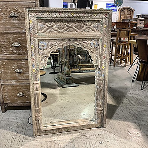 Hand carved arched mirror