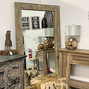 Bleached Carved Wood Mirror