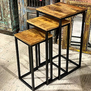 Metal and Wood Nesting Side Table