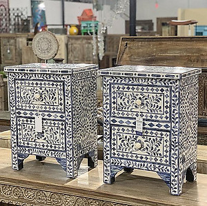 SOLD! Bone inlay nightstands