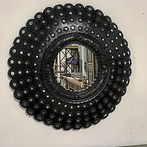Black Peacock Wood Mirror