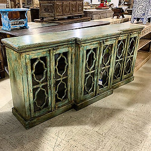 Sold! Carved Wood and Glass Sideboard