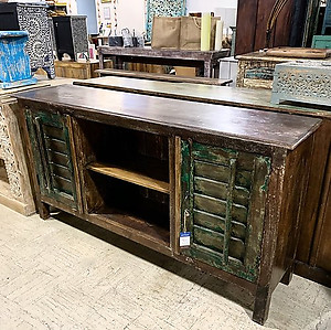 SOLD! Distressed Wood Shutter Media Cabinet