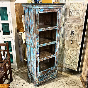 Reclaimed Wood And Glass Door Cabinet