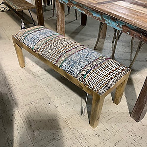 Sold! Kilim and Wooden Backless Bench