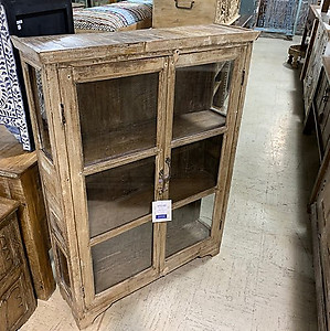 SOLD! Narrow Wood and Glass Cabinet