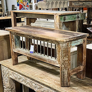 Backless Wood Bench