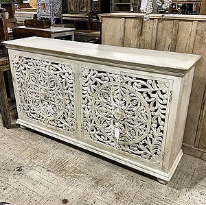SOLD! Bleached Carved Sideboard