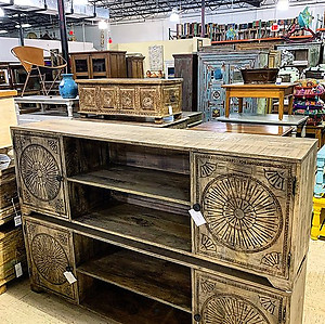 SOLD! Carved Wood Media Cabinet