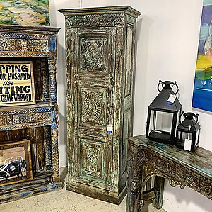 Sold! Carved Wood Single Door Cabinet