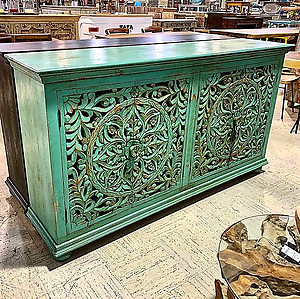 Sold! Painted Carved Wood Sideboard
