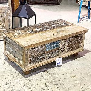 Sold! Carved Wood Coffee Table Trunk