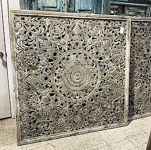 Carved Wood Square Wall Panel