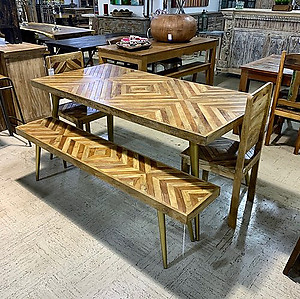 Sold! Inlaid Wood Dining Table