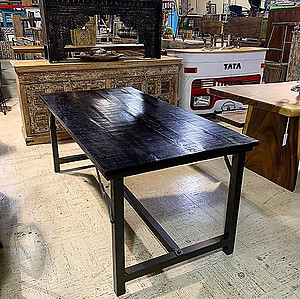 Dark Wood Industrial Table