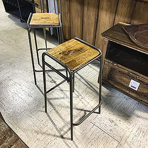 Industrial Wood and Metal Stool