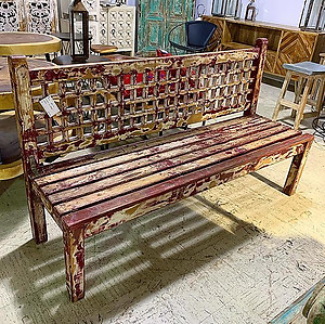 Distressed Painted Wood Bench