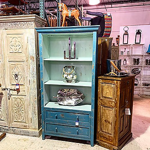 Blue Distressed Bookshelf