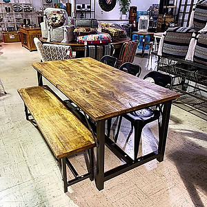 Natural Wood Industrial Table