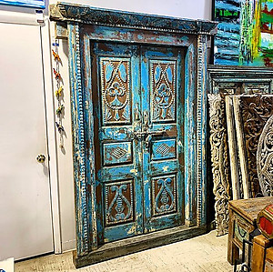 Sold! Carved Wood Door