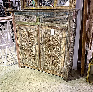 Carved Wood Panel Sideboard