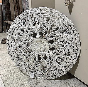 White Carved Wood Panel