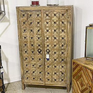 Carved Wood Storage Cabinet