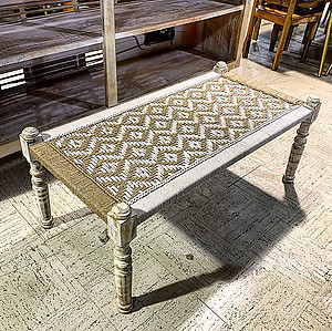 Woven and Wood Bench