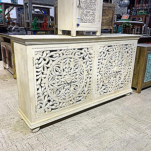 SOLD! Bleached Carved Wood Sideboard