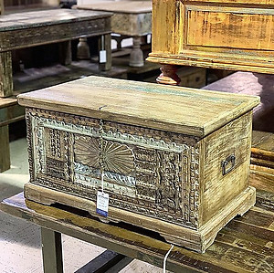 Sold!Carved Wood Storage Trunk