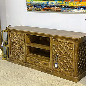 Carved Wood Media Cabinet