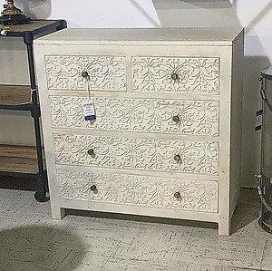 Bleached Carved Wood Chest of Drawers