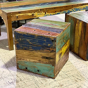 Boatwood Cube Side Table