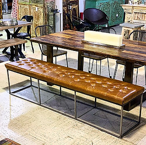 SOLD!Industrial Leather Bench