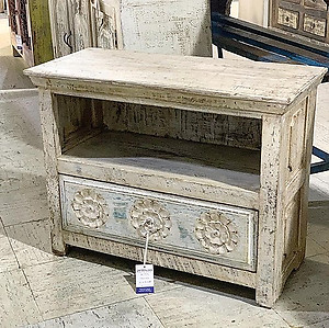 Carved Wood Nightstand
