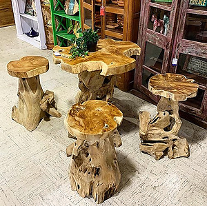 SOLD! Teak Root Mushroom Table Set