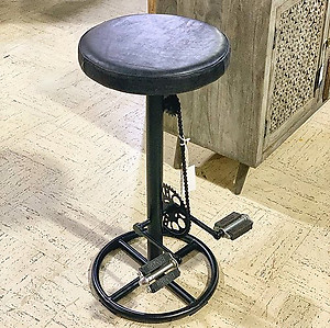 Pedal Leather and Metal Stool