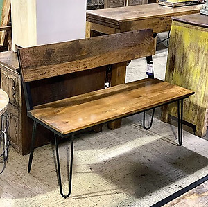 Industrial Wood and Metal Bench