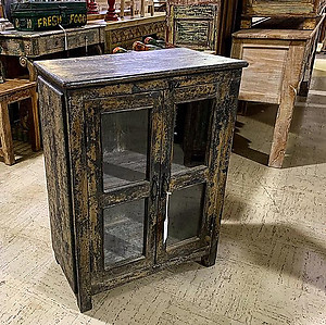 Distressed Wood and Glass Cabinet